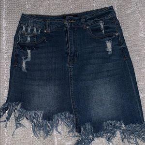 Cute distress denim skirt!
